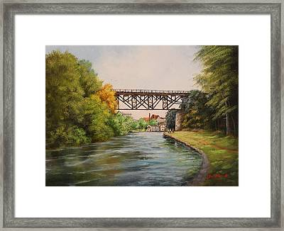 Railroad Bridge Over Erie Canal Framed Print