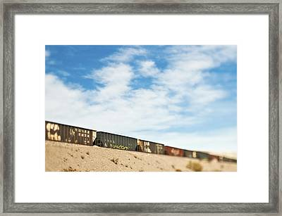 Railroad Cars Framed Print by Eddy Joaquim