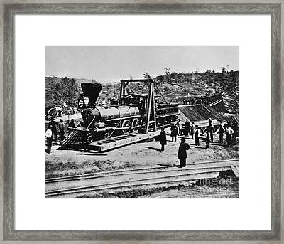 Railroad Construction, Topeka 1870 Framed Print by Omikron
