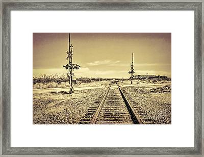 Railroad Crossing Textured Framed Print