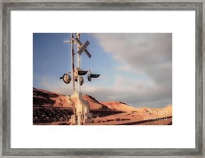 Railroad Crossing Tint Framed Print by Vance Fox
