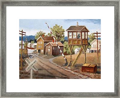 Railroad Crossing Framed Print by Tony Caviston