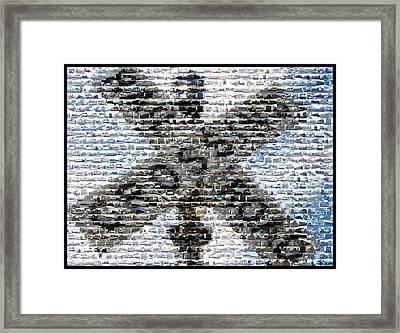 Framed Print featuring the mixed media Railroad Crossing Trains Mosaic by Paul Van Scott