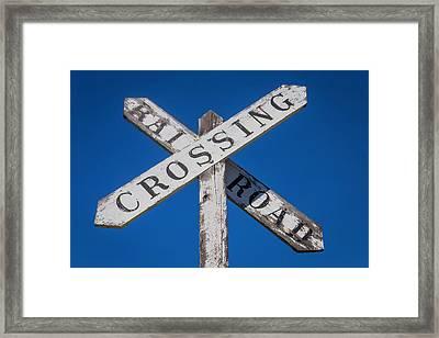 Railroad Crossing Wooden Sign Framed Print