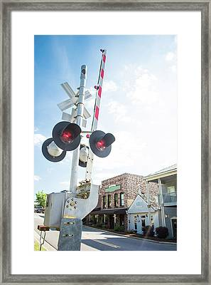 Framed Print featuring the photograph Railroad Lights In Old Town Helena by Parker Cunningham