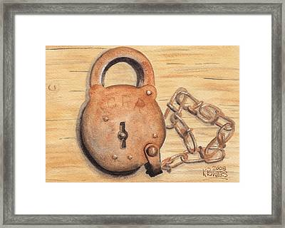 Railroad Lock Framed Print by Ken Powers