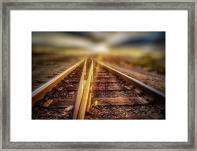 Railroad Track Sunrise Framed Print