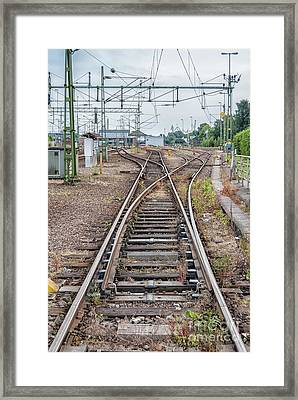 Framed Print featuring the photograph Railroad Tracks And Junctions by Antony McAulay