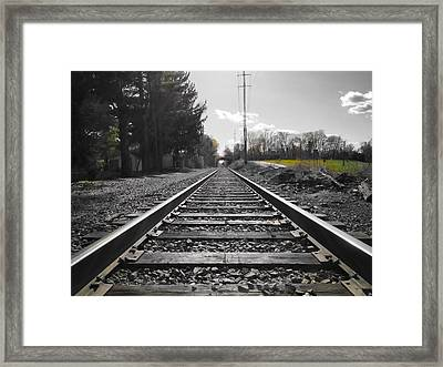 Railroad Tracks Bw Framed Print