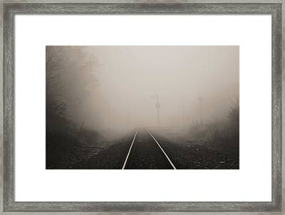 Railroad Tracks In Fog Framed Print
