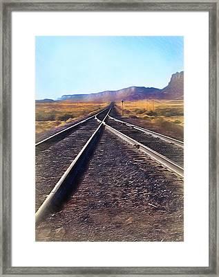 Railroad Tracks Into Horizon - Painterly Framed Print by Steve Ohlsen