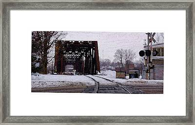 Railroad Tressel On Front Street Crossing The Grand River Framed Print by Rosemarie E Seppala