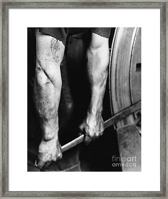 Railroad Worker Tightening Wheel Framed Print by LW Hine