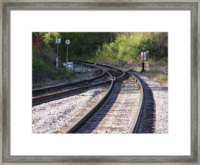 Railroads Merging Framed Print by Richard Mitchell