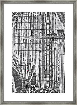Rails And The Lone Red Train Framed Print by Kim Lessel