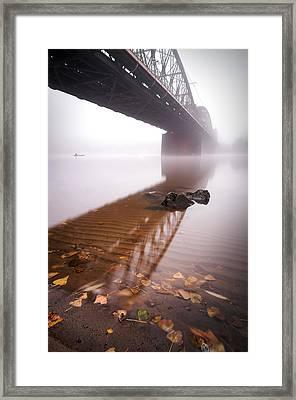 Railway Bridge During Foggy Morning In Prague, Czech Republic Framed Print