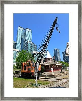 Railway Crane At Roundhouse Park Toronto Framed Print