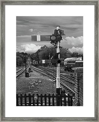 Railway Signals In Black And White Framed Print by Gill Billington