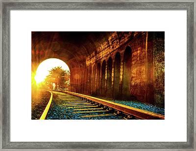 Railway Track Sunrise Framed Print