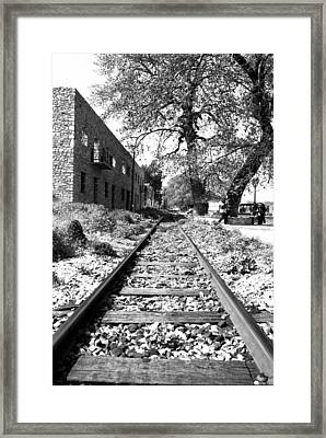 Railway Tracks Aigio Greece Framed Print by Frank Filippoupolitis