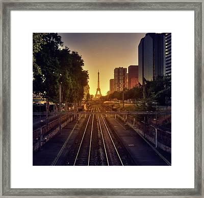 Railway Tracks Framed Print by Stéphanie Benjamin