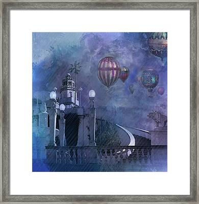 Rain And Balloons At Hearst Castle Framed Print