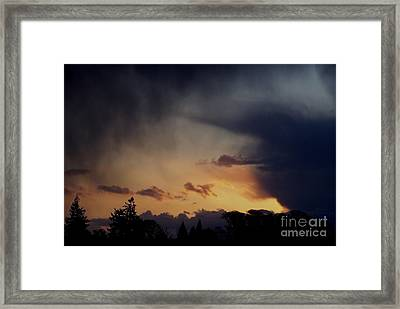 Framed Print featuring the photograph Rain At Sunset by Erica Hanel