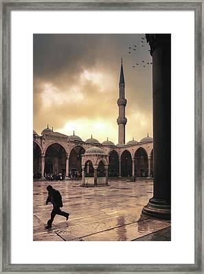 Rain At The Blue Mosque Framed Print