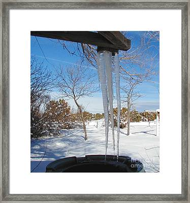 Rain Barrel Icicle Framed Print