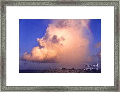 Rain Cloud And Rainbow Framed Print