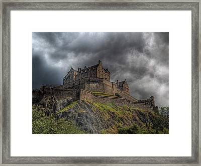Rain Clouds Over Edinburgh Castle Framed Print by Amanda Finan