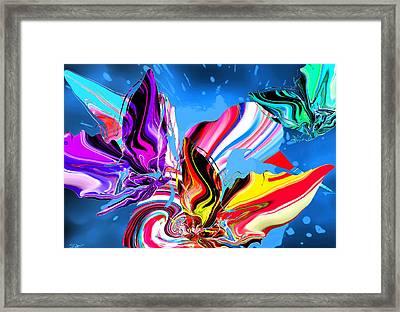 Rain Dancing Butterflies With Hummingbird Framed Print by Abstract Angel Artist Stephen K