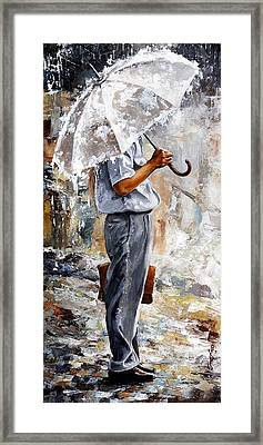 Rain Day - The Office Man Framed Print by Emerico Imre Toth