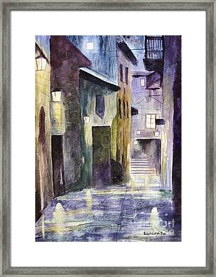 Rain Drenched Alleyway  Framed Print by Samanvitha Rao