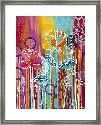Framed Print featuring the painting Raindrops  by Carla Bank