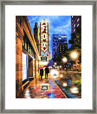 Framed Print featuring the mixed media Rain Falling On Peachtree Street - Atlanta by Mark Tisdale