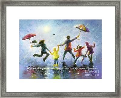 Rain Family Three Children Framed Print