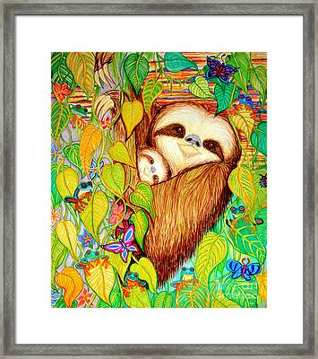 Rain Forest Survival Mother And Baby Three Toed Sloth Framed Print