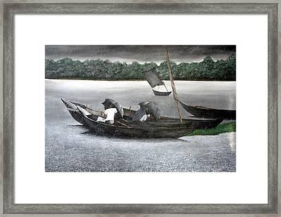Rain In Bangladesh- An Acrylic Painting Framed Print by Fahad Hossain
