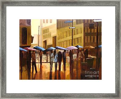 Rain In Manhattan Number Seventeen Framed Print by Tate Hamilton