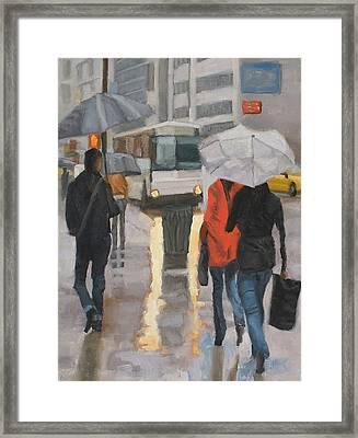 Rain In Midtown Framed Print