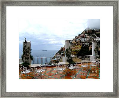 Rain In Positano Framed Print