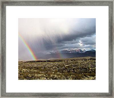 Framed Print featuring the painting Rain In The Desert by Dennis Ciscel