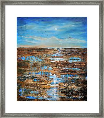Framed Print featuring the painting Rain In The Distance by Linda Olsen