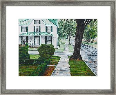 Rain On Green Roof Framed Print by Thomas Akers