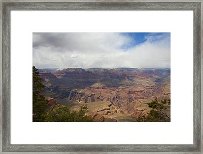 Rain On North Rim Over Bright Angel Trail Framed Print