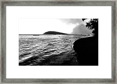 Framed Print featuring the photograph Rain On Sea And Shore by Julian Cook