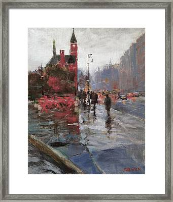Rain On Sixth Avenue Framed Print by Peter Salwen