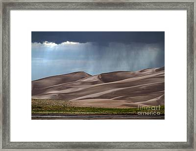 Rain On The Great Sand Dunes Framed Print by Catherine Sherman