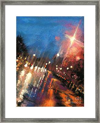 Rain On The Hill - Grosse Pointe Framed Print